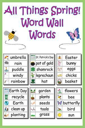 30 Winter Word Wall Words Spring Words Preschool Word