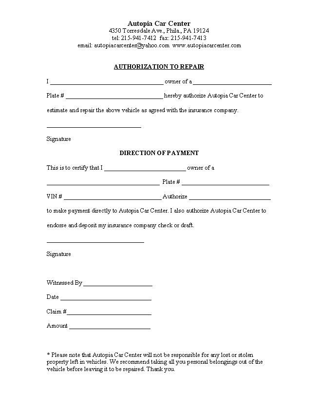 authorization letter sample for check car about repair work hotel - authorization letters sample