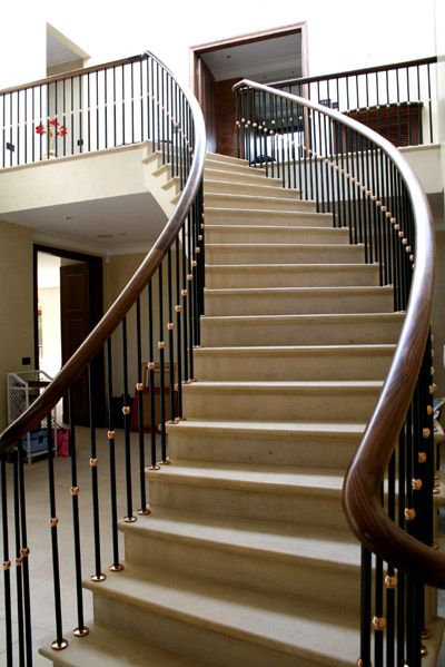 Best Walnut Staircase Handrail With Georgian Cast Iron 400 x 300