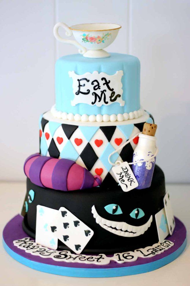 Alice in Wonderland Cake Sweet 16 parties Custom cake and Sweet 16