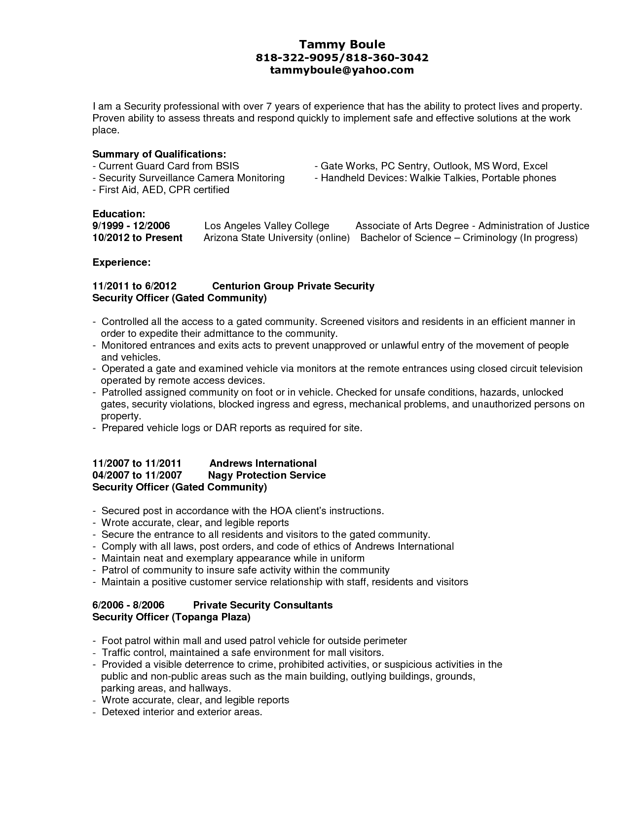Guard Security Officer Resume Ideas