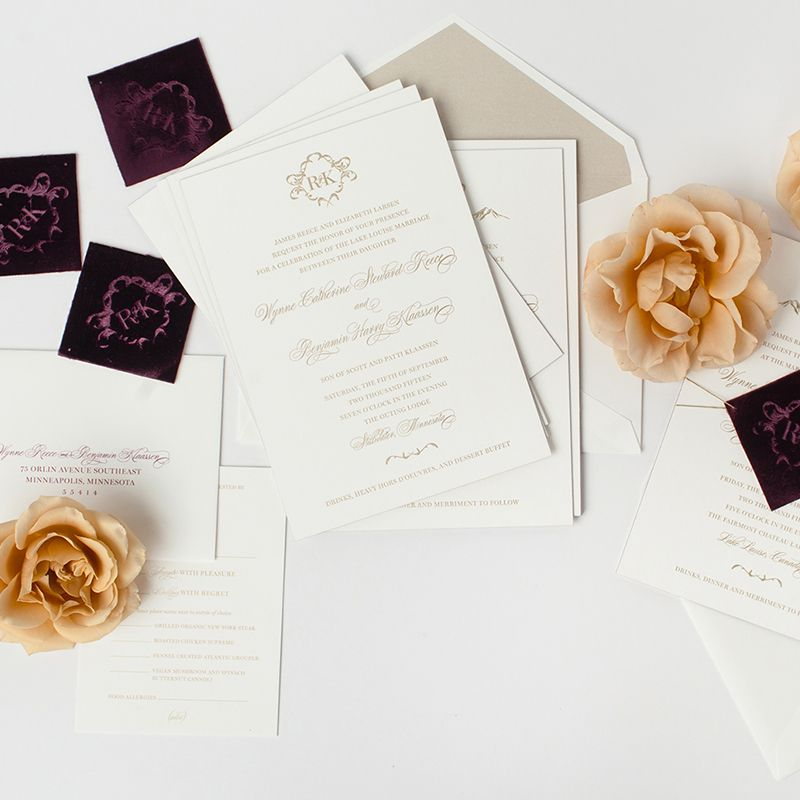 Custom foil with velvet tag wedding invitations from Paper Rock