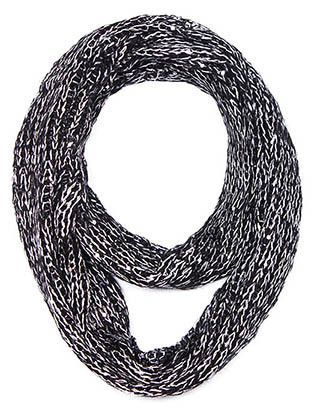 KNITTED INFINITY METALLIC THREAD SEQUIN ACCENT 52 INCH LONG X 12 INCH WIDE 100% ACRYLIC ONE SIZE JTF99493BLK