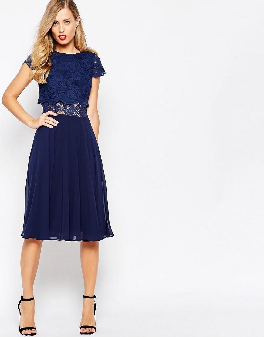 ASOS | ASOS Crop Top Lace Midi Dress at ASOS | cenefitas | Pinterest