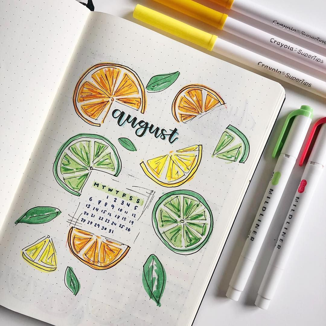 My title page for August! I am actually loving this citrus theme so much it just screams summer to me ???? Comment below some themes you want… #bulletjournalideas