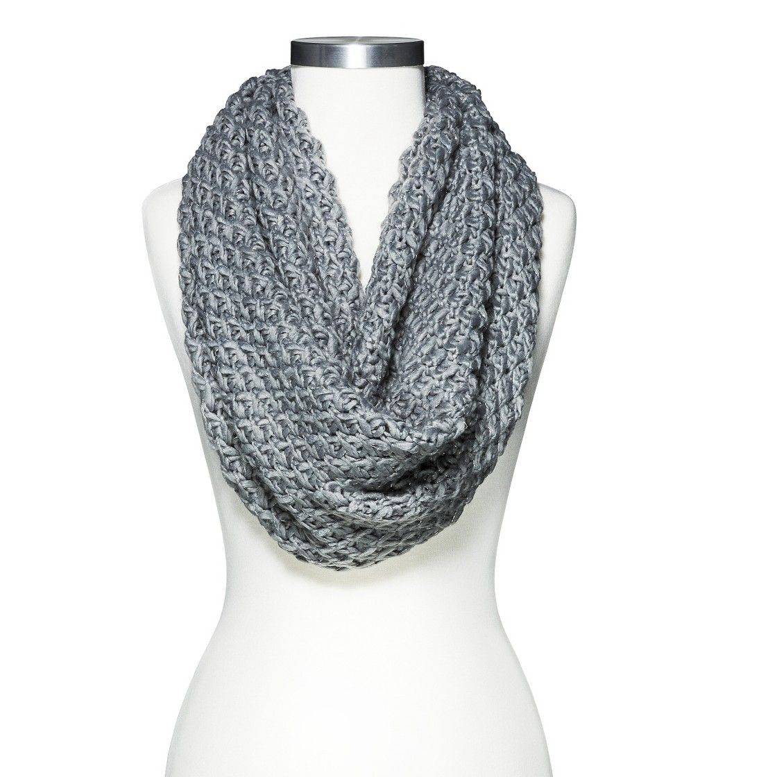 Women\'s Limited Edition Metallic Chuncky Knit Infinity Scarf - Gray ...