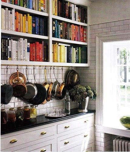 kitchens white kitchen cabinets black granite countertops counter tops white subway tiles pot rack copper - Copper Kitchen Cabinet Hardware