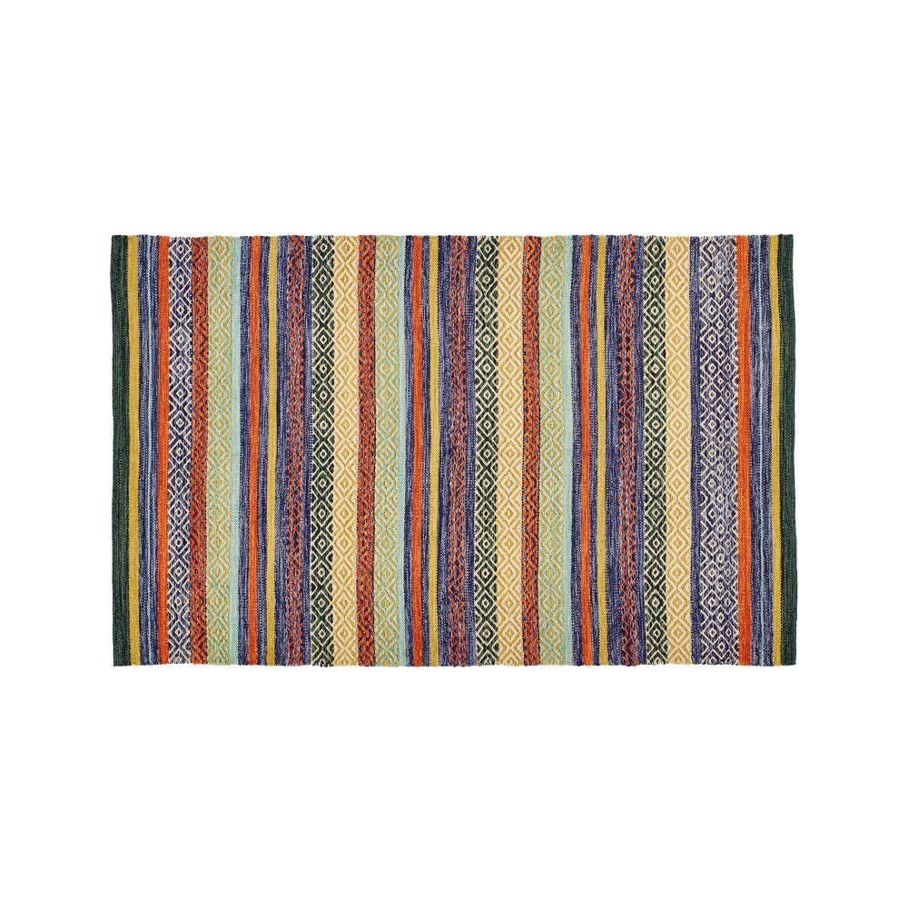 Yumi Blue Multi Color Rag Rug 5 X8 Reviews Crate And Barrel Rugs Colorful Rugs Accent Rugs