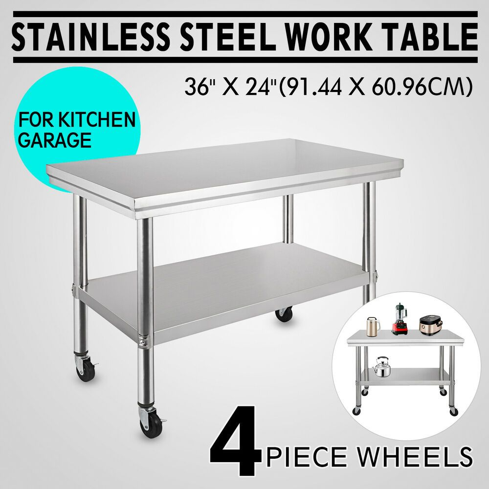 Ebay Sponsored 36 X24 Stainless Steel Work Table 4 Casters For Undershelf Cafeteria Silver Stainless Steel Work Table Kitchen Work Tables Work Table