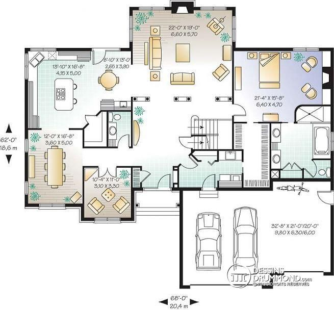 W2661 plan maison am ricaine 3 5 chambre 2 grands for Plan de villa style americain