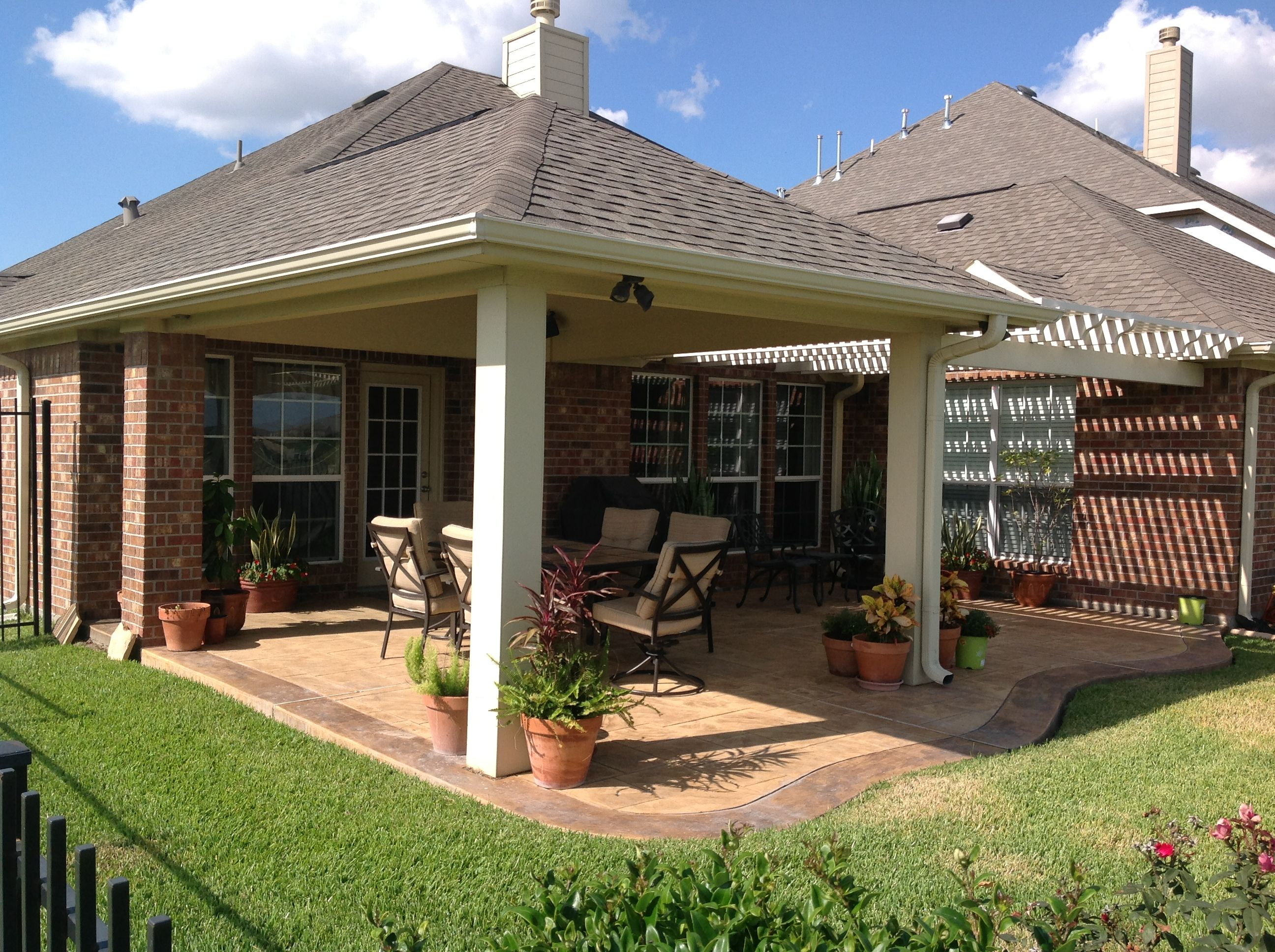 arbor and patio cover combo stamped concrete stained concrete – Arbor Patio Cover Plans