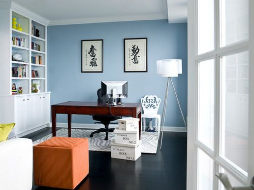 Water front in the windy city transitional home office - Best paint for office walls ...
