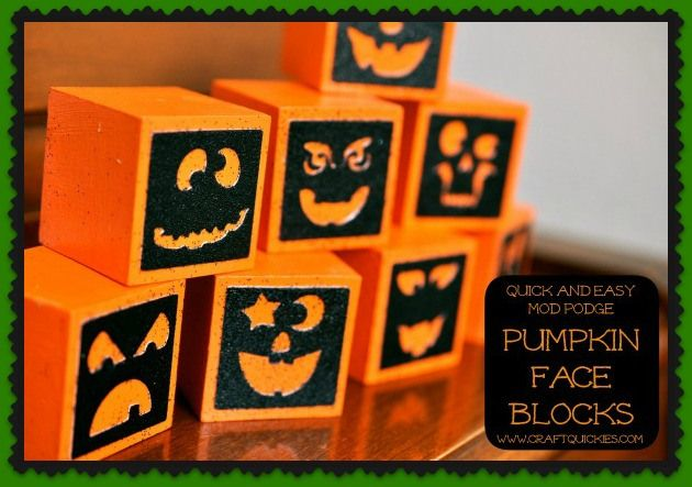 These pumpkin blocks are the perfect quick Halloween decorations! I - halloween decor images