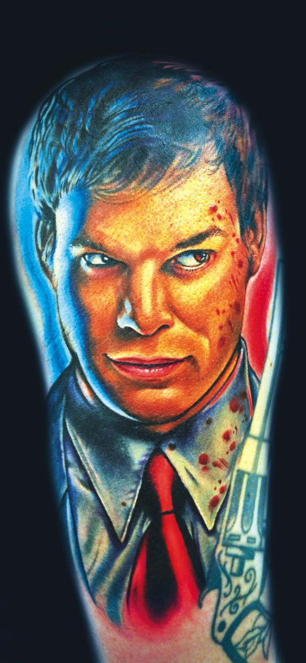 #Dexter #Tattoo Artist: London Reese This might just be the most perfect and representative portrait tattoo I have ever seen!