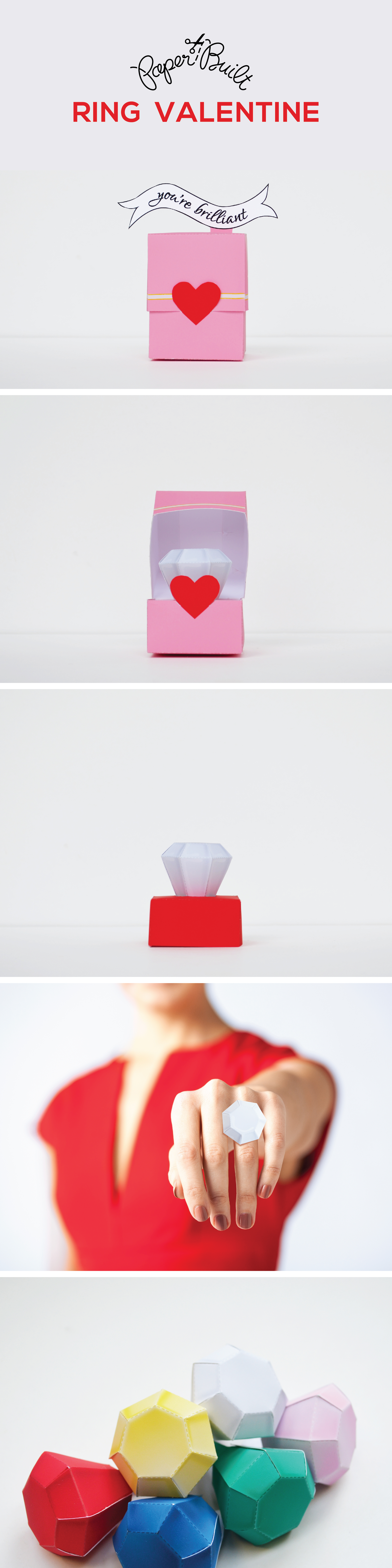 Make your own handmade paper craft Valentine's Day diamond/ gem ring by Paper Built #papercraft #handmadevalentine #valentine #papervalentine