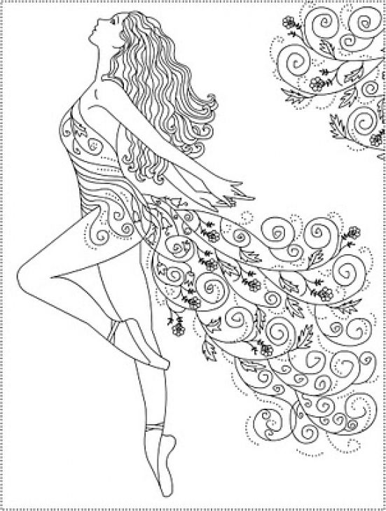 Abstract ballerina doodle art coloring page for grown ups Coloring