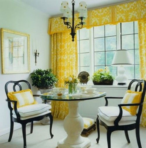 big yellow curtains with white walls next to a black/white room. I ...