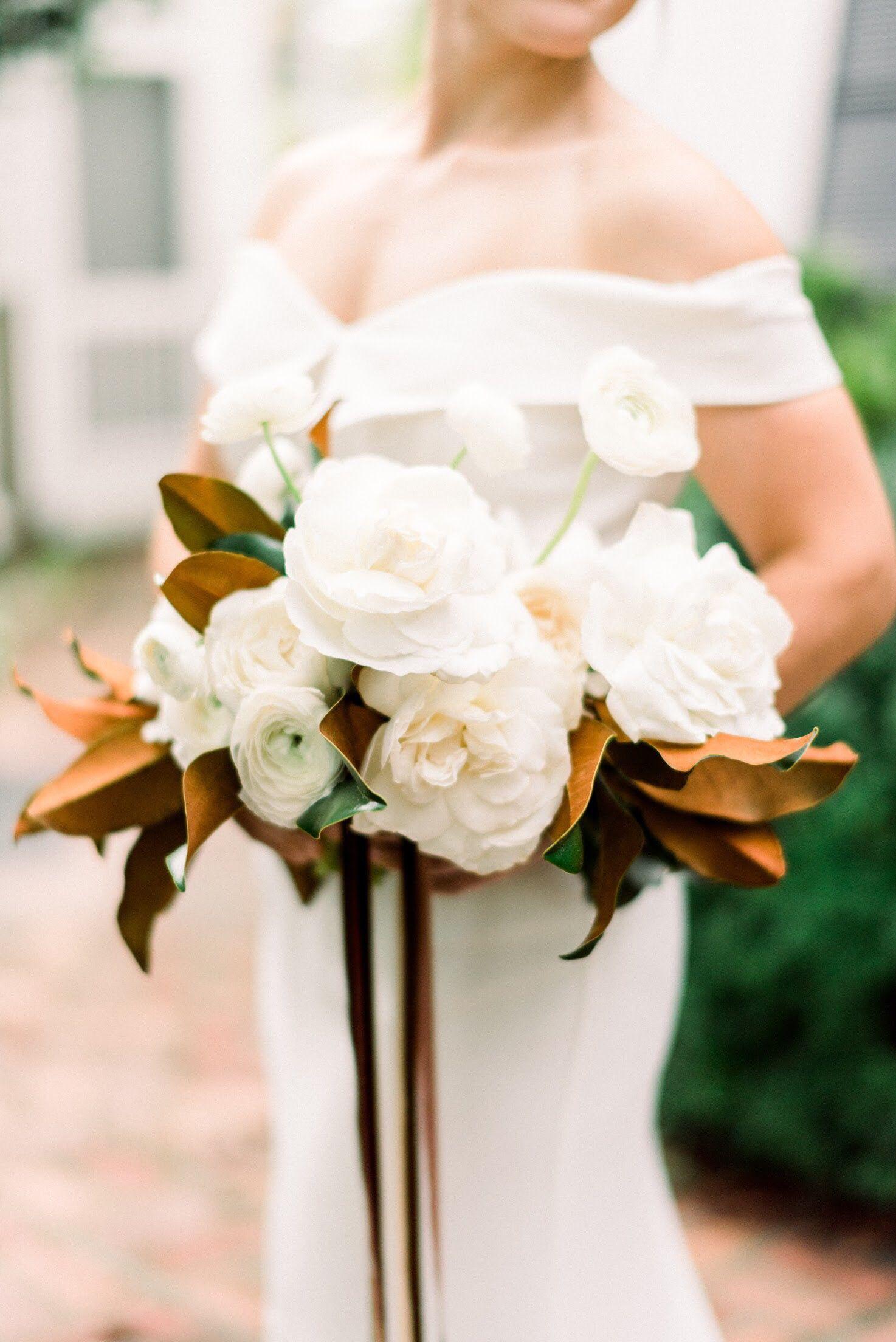 White Garden Roses Magnolia Bouquet Bridal Bouquet Blush Roses