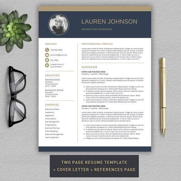 Resume Template CV + Cover Letter by ProGraphicDesign on - resume references page