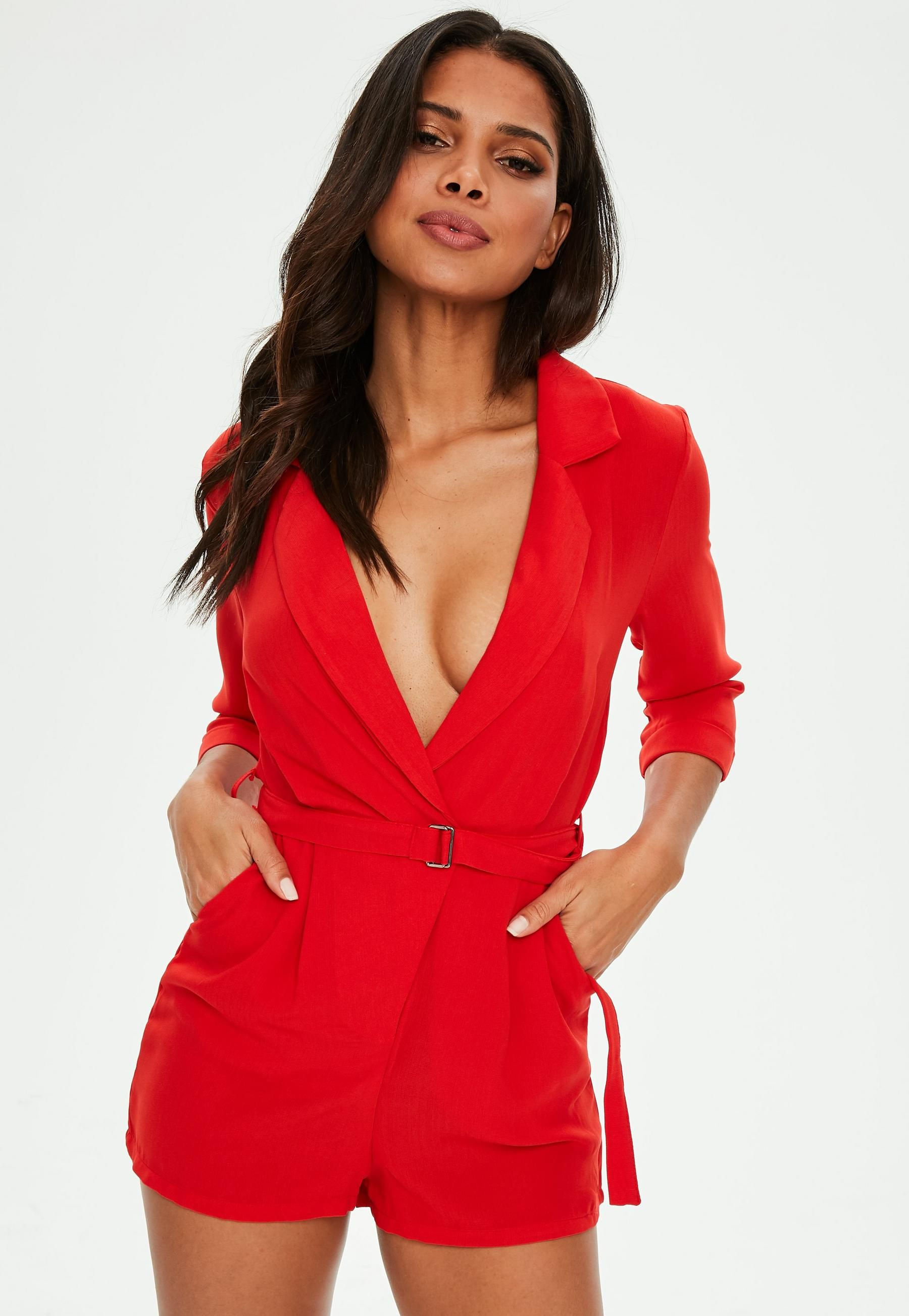 best selection of 2019 buy real complete range of articles Red Wrap Blazer Playsuit | Missguided Australia | Ruby Biond ...