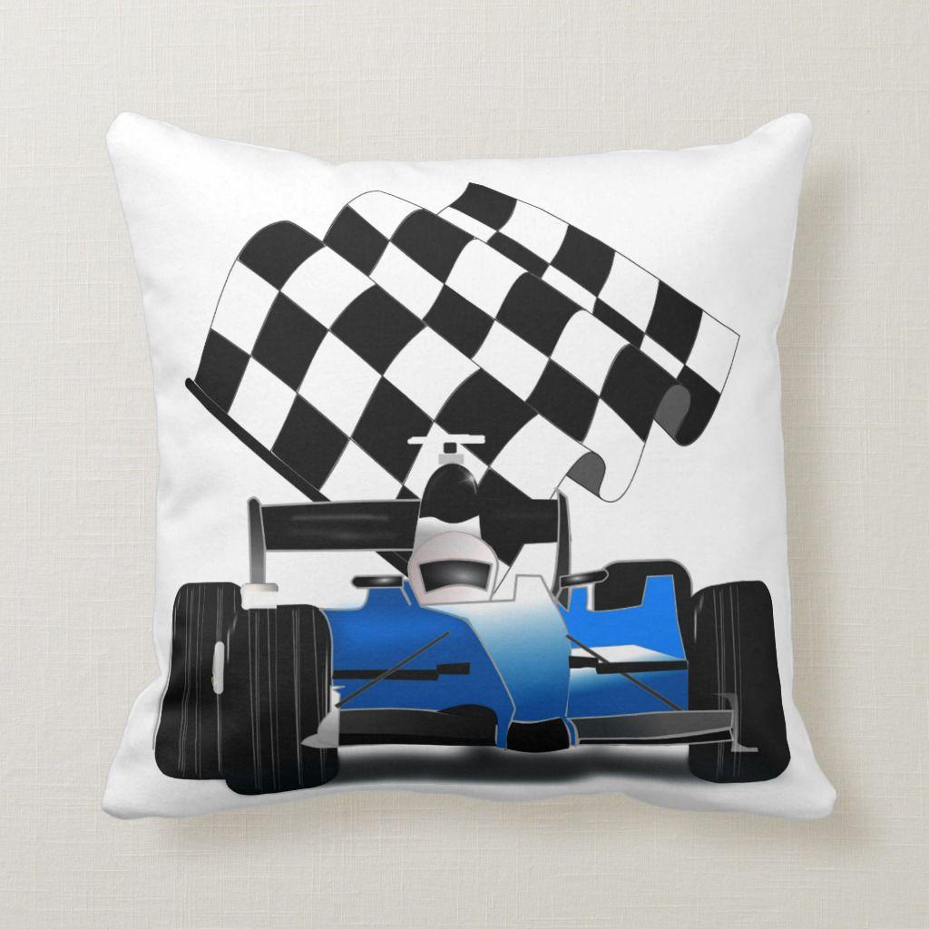 Blue Race Car With Checkered Flag Throw Pillow Zazzle Com