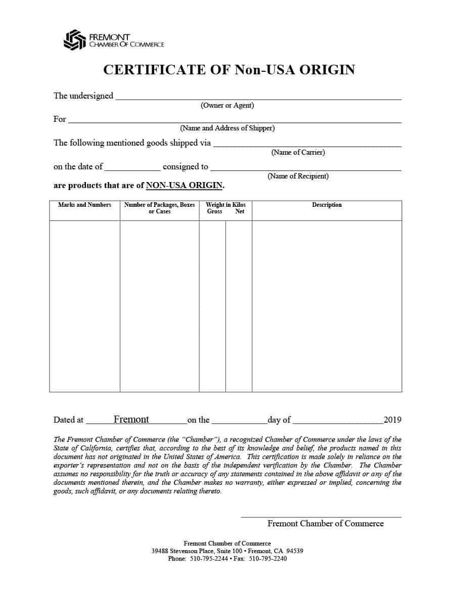The cool 30 Printable Certificate Of Origin Templates (100