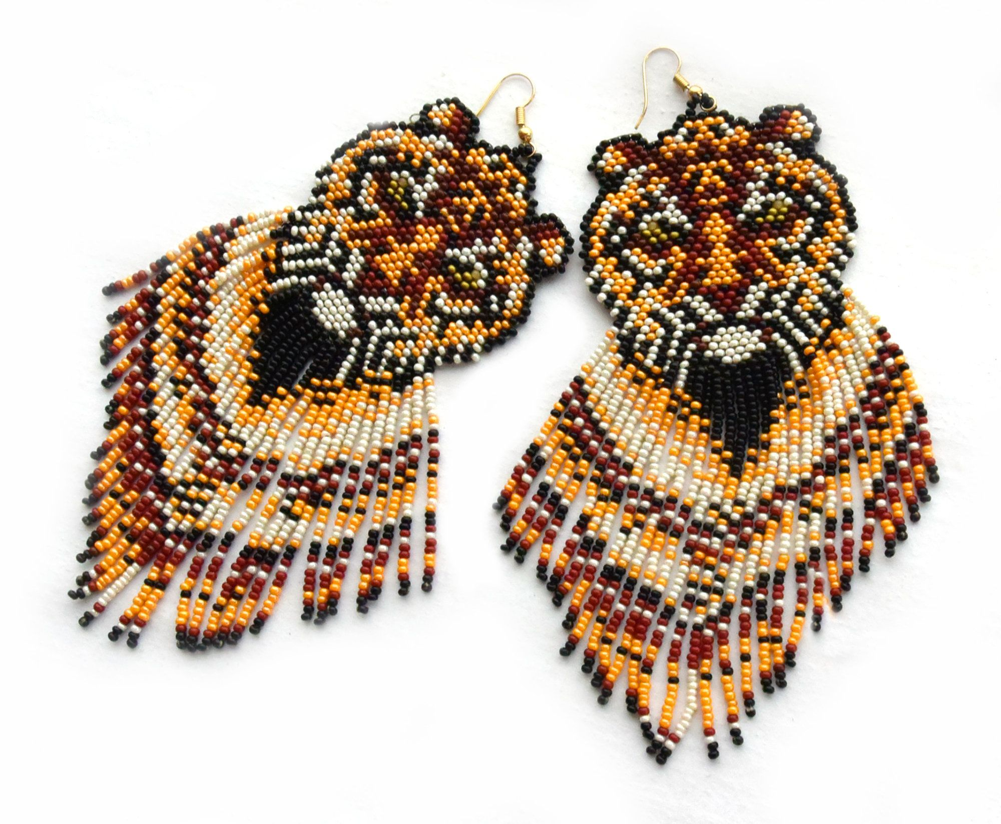 Beaded Fringe Earrings Boho Festival Style Brick Stitch with Crystals Red to Blue Gradient