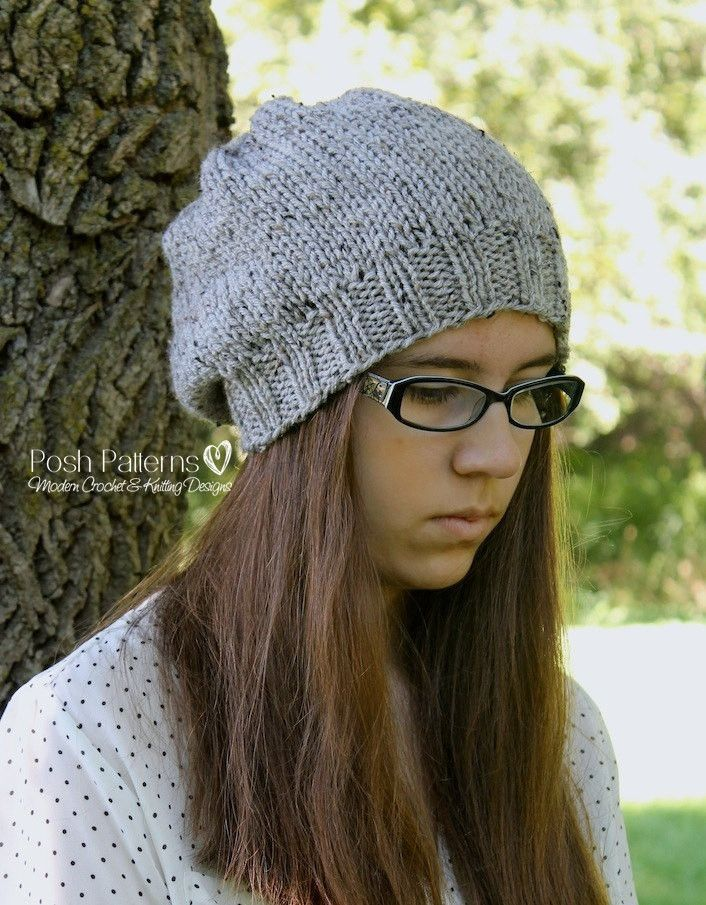 Knitting PATTERN - Easy Knit Slouchy Hat Pattern | Gorros