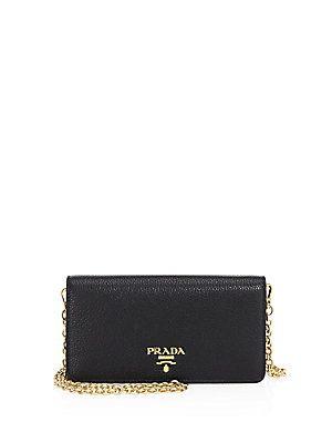 promo code 5d145 bbab6 Prada Leather iPhone Chain Wallet | iWish | Wallet chain, Prada, Wallet