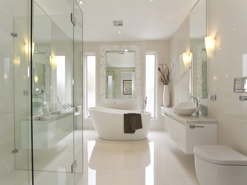 Bathroom, White Bathroom Designed In Ultra Modern Equipped With Pretty  White Bathtub Also Decorated With Elegant Floating Vanity Plus Charmi.