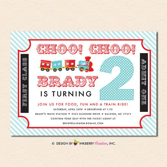 Choo choo train ticket aqua and red birthday party invitation choo choo train ticket aqua and red birthday party invitation digital file or cardstock printed cards also available filmwisefo