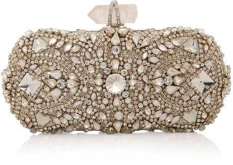 Marchesa Silver Crystal Embroidered Clutch