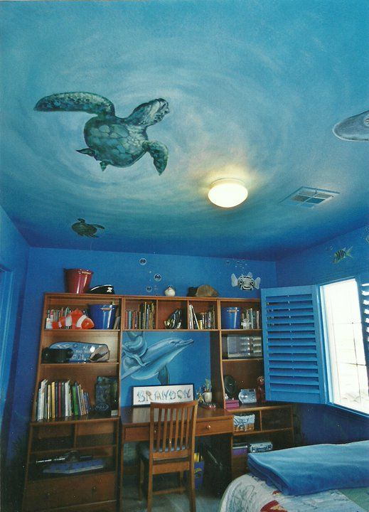 I Love The Ceiling Being Painted As The Surface Of The Water Underwater Bedroom Ocean Themed Bedroom Bedroom Themes