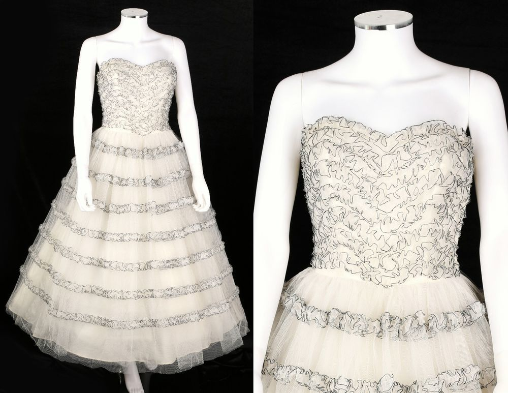 VTG 1950s WHITE BLACK TULLE RUFFLE STRAPLESS COCKTAIL PARTY DRESS SZ XS / S