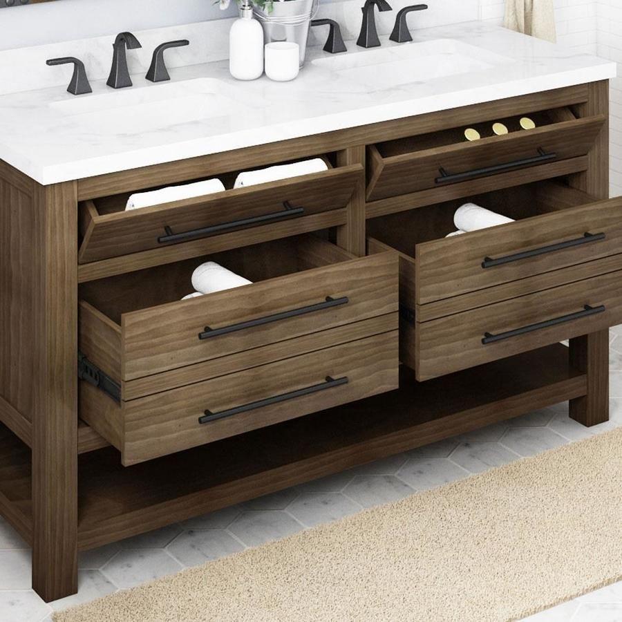 Allen Roth Kennilton 60 In Gray Oak Undermount Double Sink Bathroom Vanity With White Carrera Engineered Stone Top Lowes Com Double Sink Bathroom Double Sink Bathroom Vanity Oak Vanity Bathroom