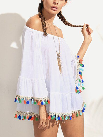 d999fec8cc8 White Off Shoulder Flared Sleeve Tassel Blouse Cover-up ...
