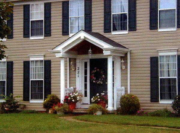 Simple Colonial House Exteriors Porch Roof Design Front Porch