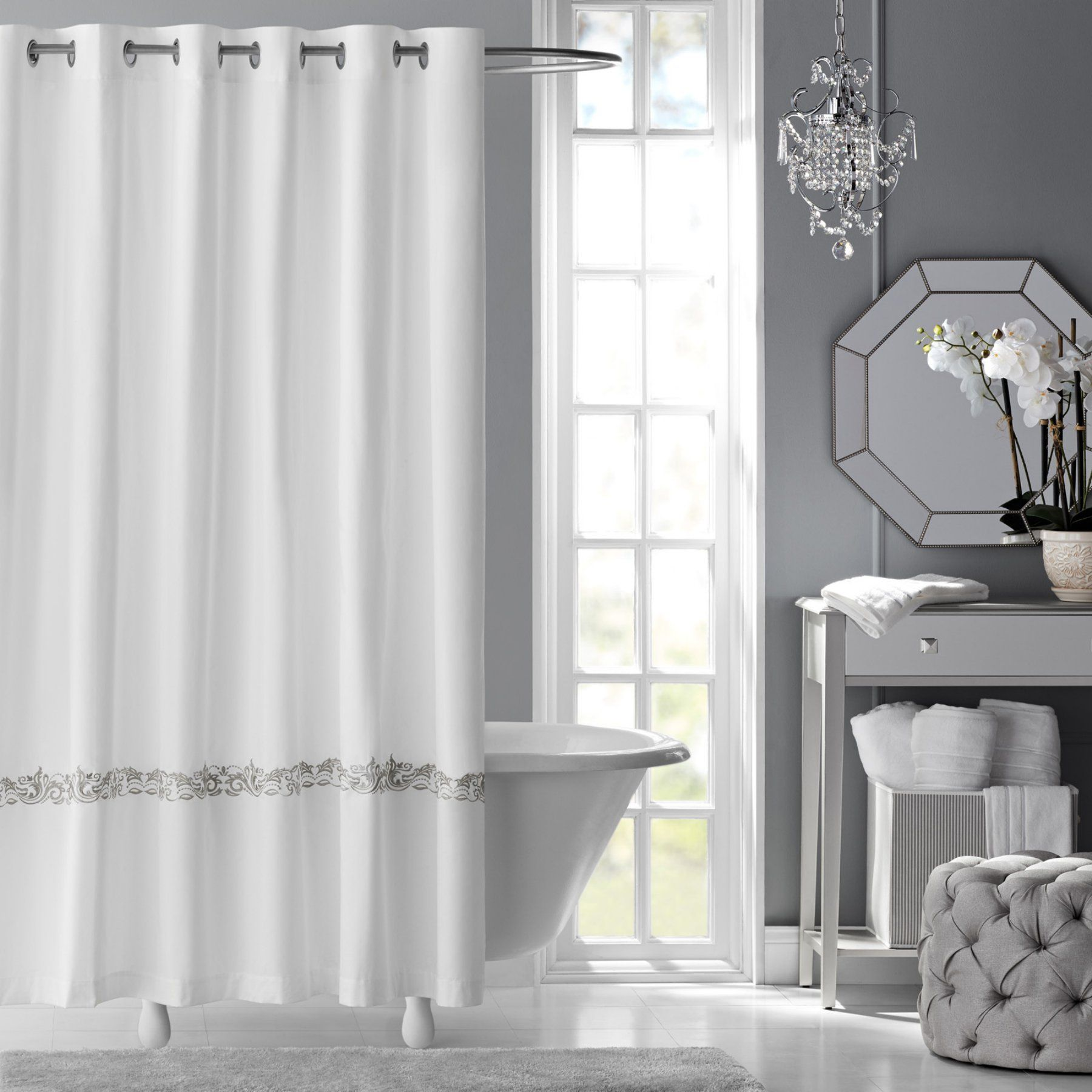 Fresca embroidered cotton shower curtain by hotel style