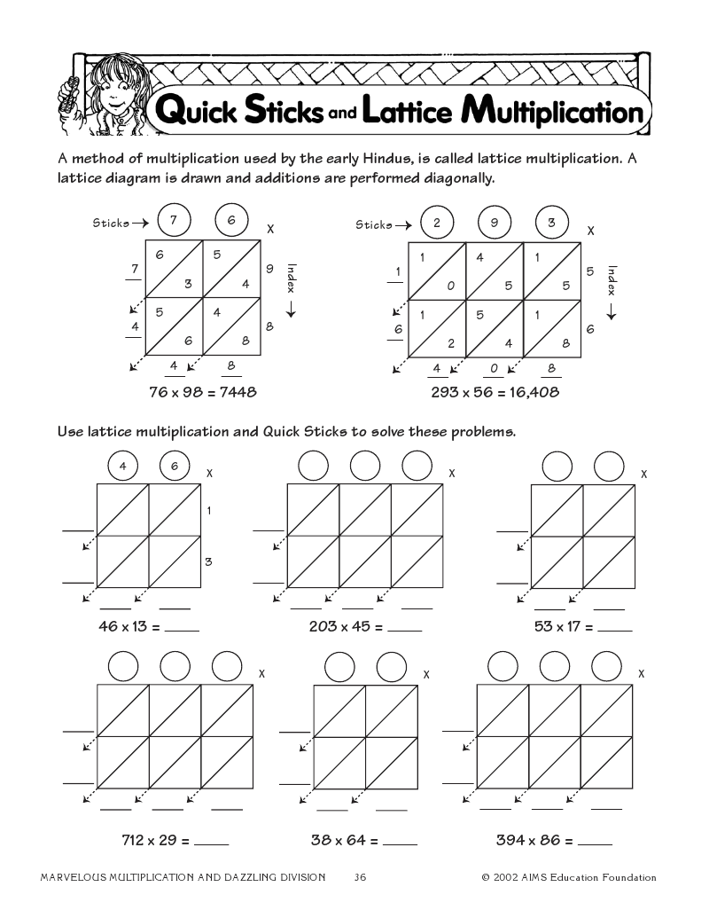 Quick Sticks and Lattice Multiplication   Elementary math lessons [ 1035 x 800 Pixel ]