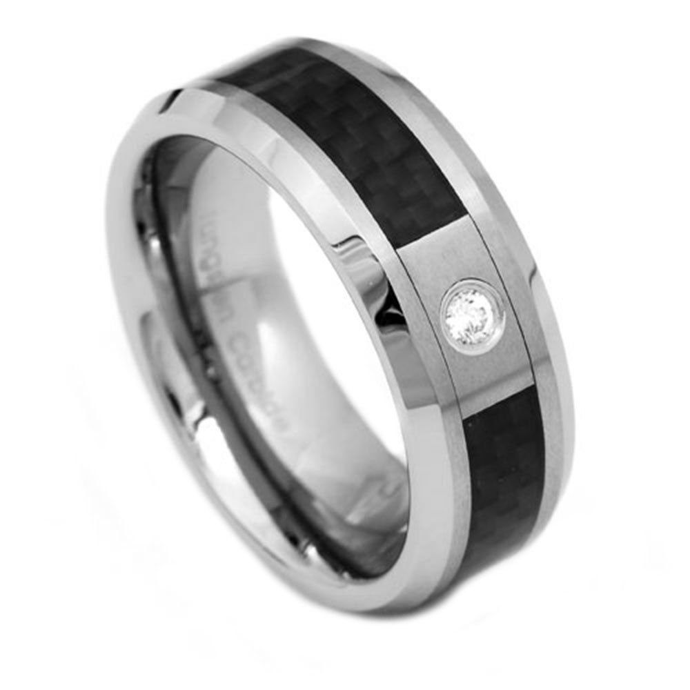 8mm tungsten black carbon fiber inlay cubic zirconia ring