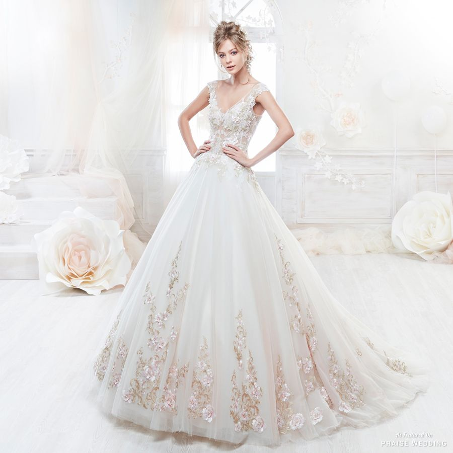 this gorgeous wedding dress from colet featuring delicate rose gold embroideries is making us swoon