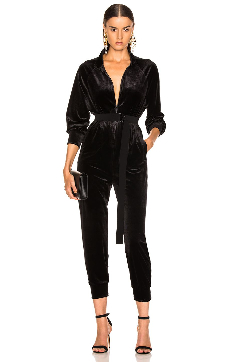 fdeb4277107a Image 1 of Norma Kamali Turtle Raglan Velvet Jumpsuit in Black ...