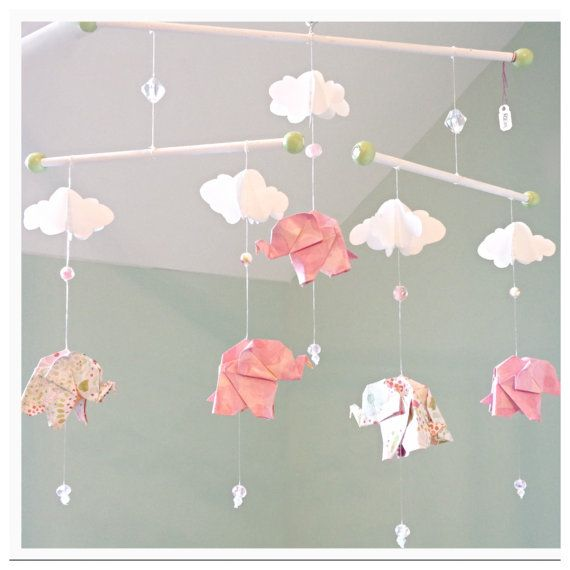 Photo of Items similar to Origami Elephant Baby Nursery Mobile – Pink & Green on Etsy