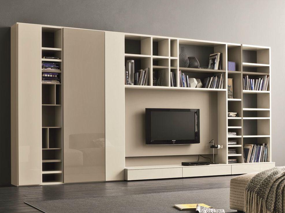 Mueble modular de pared lacado con soporte para tv Armarios - muebles de pared