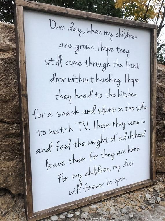 "This is a PERFECT Christmas gift for your mother, mother-in-law, wife, or anyone for that matter! ""One day when my children are grown..."" wood framed sign. The frame is stained and the sign is painted with a white background with painted black lettering (this are NOT vinyl"