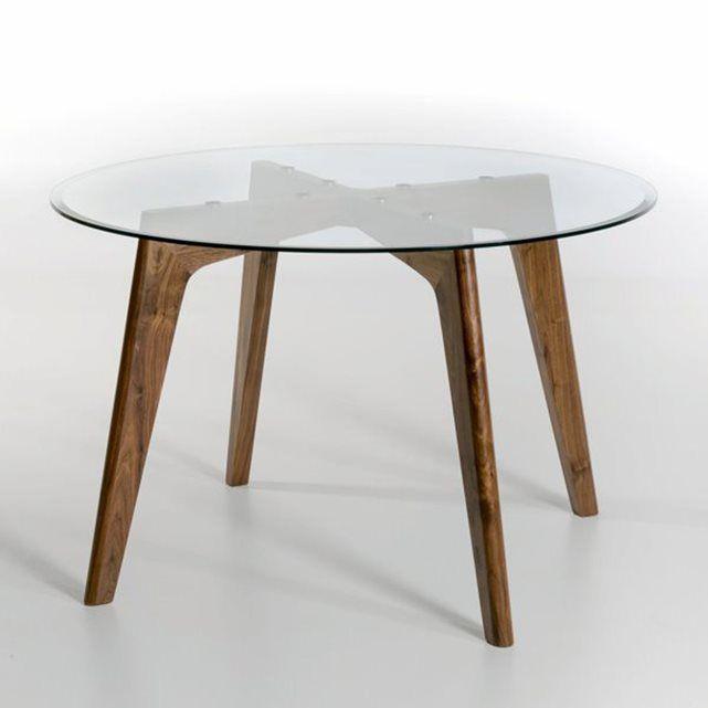 table ronde verre et noyer Ø130 cm, kristal
