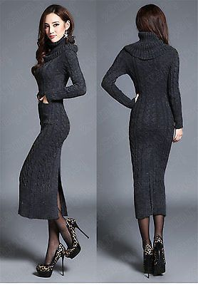 1bc7229b773 Women s Girl Maxi Turtleneck Knit Casual Sweater Dress Knitwear Jumper  Cardigan