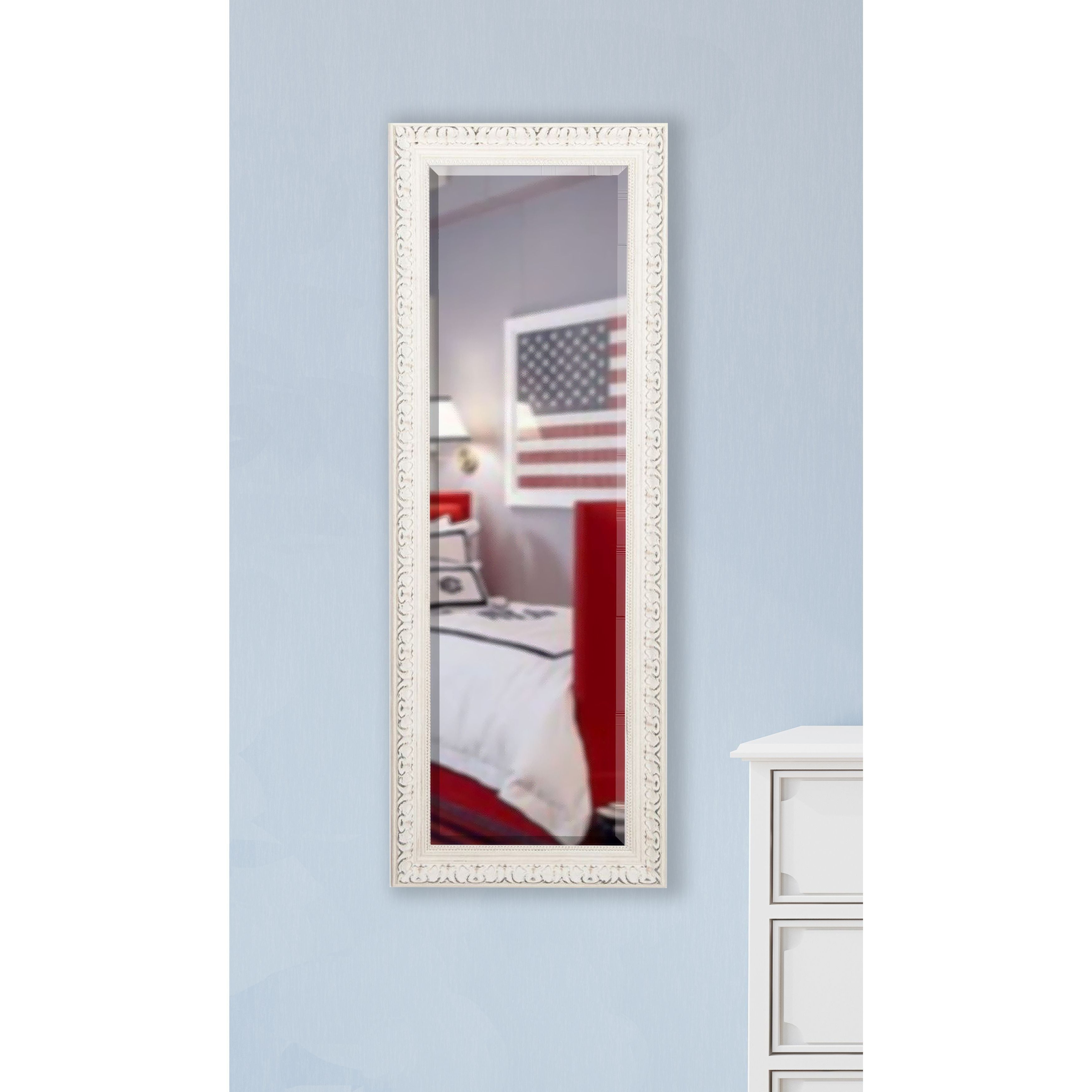 American Made Rayne French Victorian White 21 x 60-inch Slender Body Mirror (Non Beveled Glass), Ivory