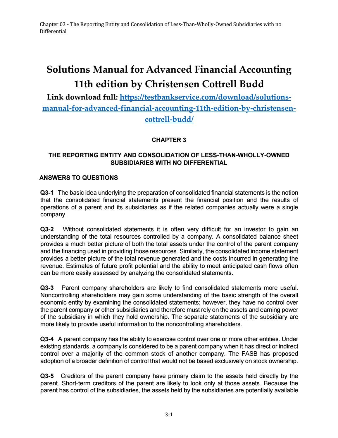 Solutions manual for advanced financial accounting 11th edition by  christensen cottrell budd