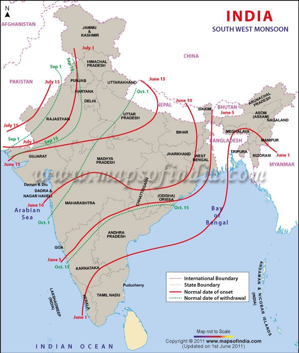 Map 0f India.South West Monsoon Map Weather Maps India Map Map Geography Map